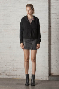 Mulholland Upcycled Cashmere Hoodie Jacket Black