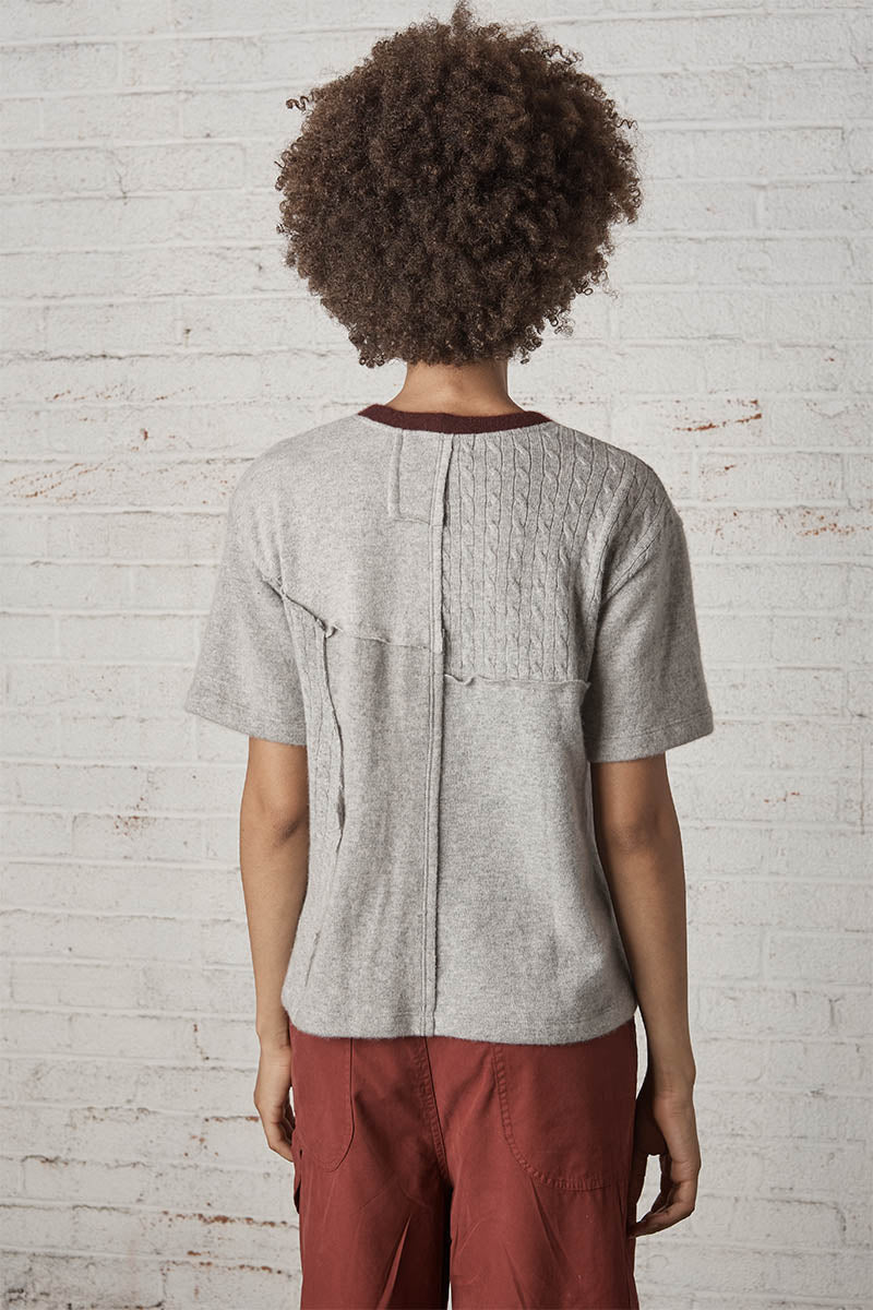 Mulholland Upcycled Cashmere Tee Shirt Grey