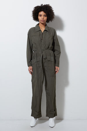 CAPSULE LONG SLEEVE JUMPSUIT, ARMY
