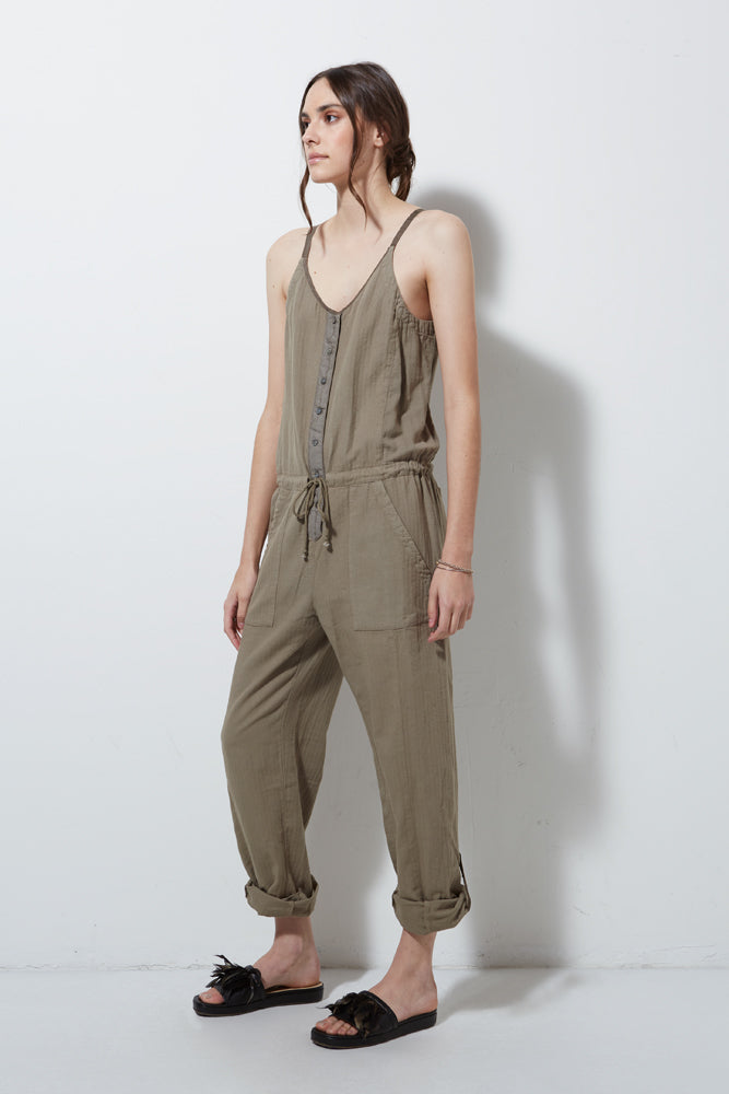 CAPSULE SPAGHETTI STRAP JUMPSUIT, PUTTY