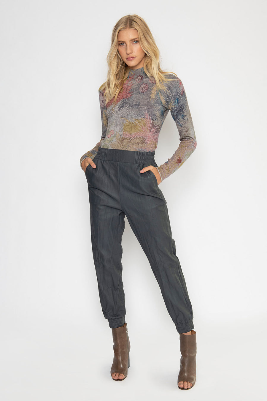 LEATHER JOGGER PANT, GRAPHITE