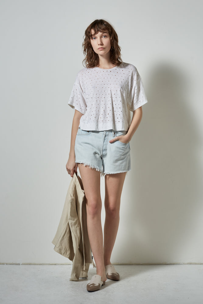 MOJAVE DISTRESSED LINEN TEE- WHITE | BURNING TORCH