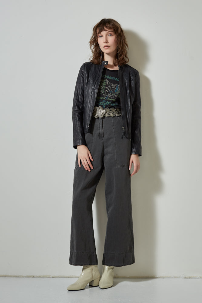 Explorer Linen Blend Paper Bag Pants | Burning Torch | Wide Leg Cropped Pant