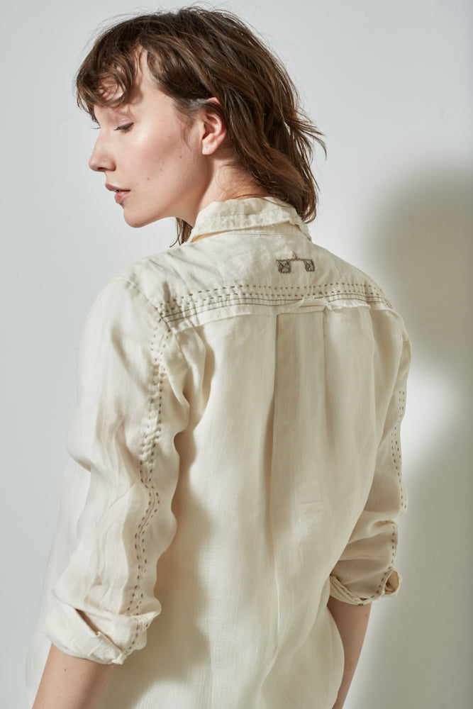 Marfa Shirt Washed Ecru | Burning Torch | Women's Button Down