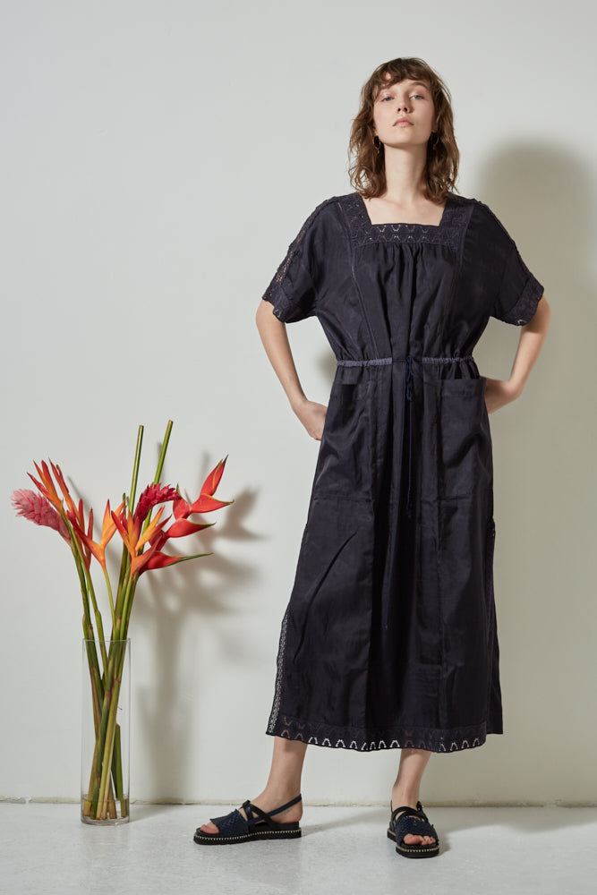 PFEIFFER DRAWSTRING WAIST DRESS - INK