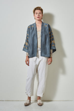 BEL-AIR SILK CROPPED KIMONO TOP- SEA