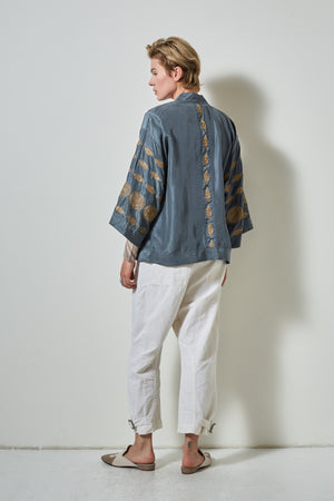 bel air silk kimono, burning torch