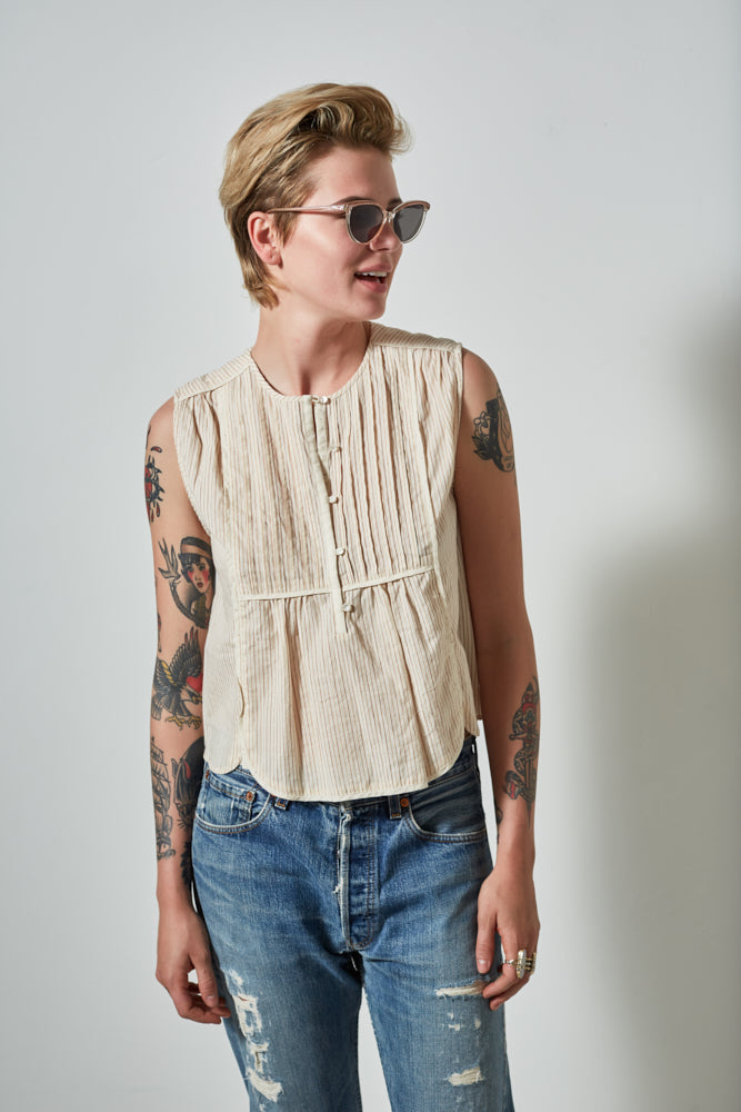 BODIE JAPANESE COTTON SLEEVELESS SHIRT- NATURAL