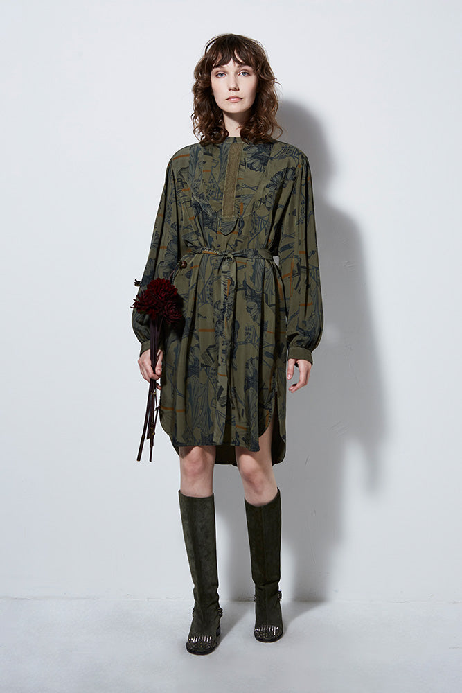 ATLANTIS PRINT LONG SLEEVE DRESS, ARMY