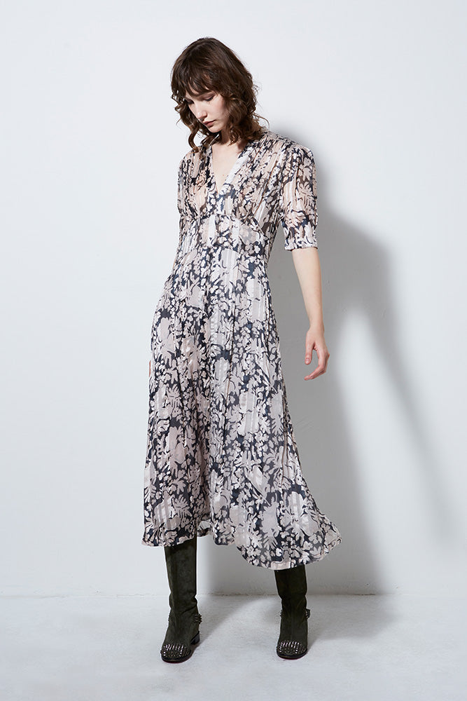 AURORA SILK PRINT DRESS