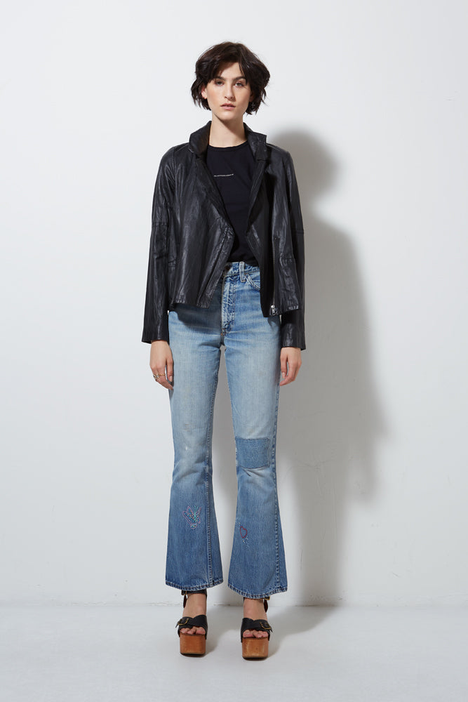 WASHED LEATHER SWING MOTO, BLACK