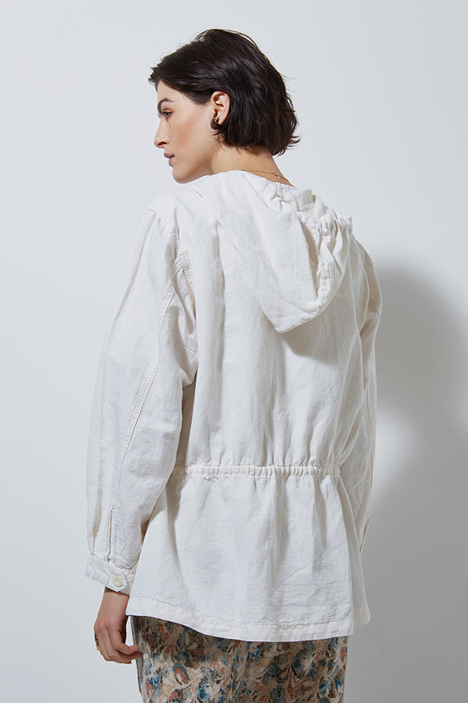 EXPLORER LINEN JACKET WITH HOOD- SALT