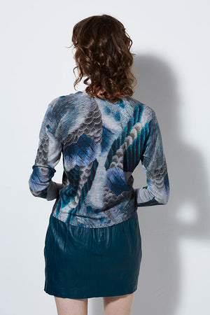VIEW PRINTED CASHMERE CARDIGAN, PEACOCK