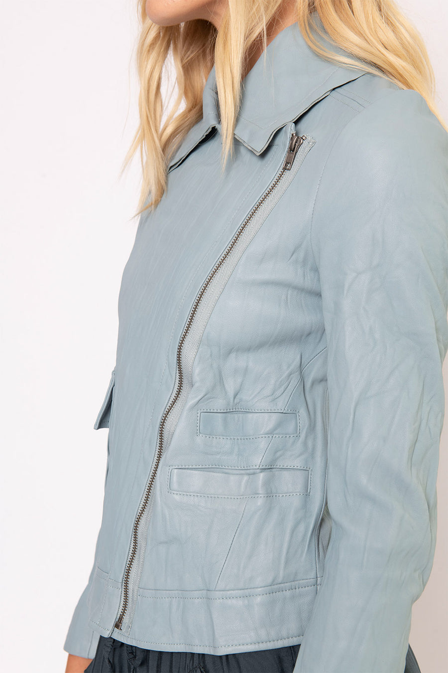 WASHED LEATHER MOTO JACKET, GLACIER