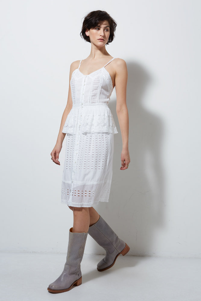 HALF MOON SLEEVELESS DRESS, WHITE