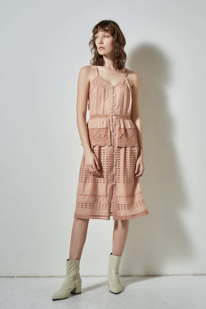 HALF MOON SLEEVELESS DRESS, BLUSH