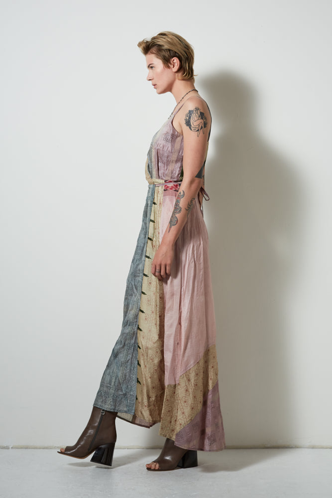 UPCYCLED SARI WRAP DRESS, LIGHT