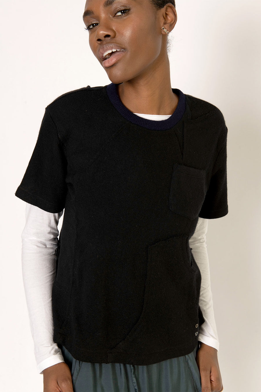 Mulholland Upcycled Cashmere Tee Shirt Black