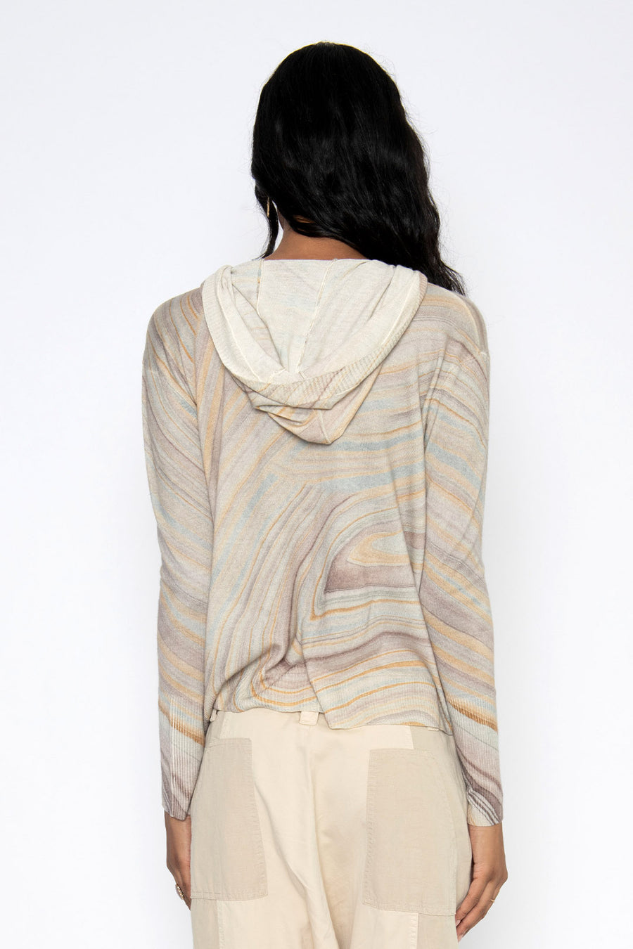 PAINTED DESERT CASHMERE HOODED POPOVER- MARBLE