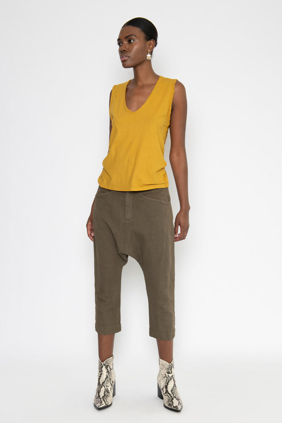HEARTLAND DROP CROTCH CROP PANT, ARMY