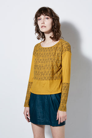 CHIMERA LONG SLEEVE PRINT TEE, MUSTARD | BURNING TORCH