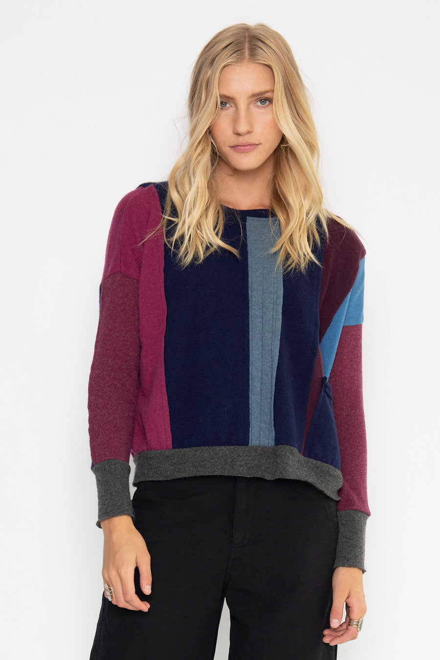 DREAMSCAPE UPCYCLED CASHMERE TOP, BERRY
