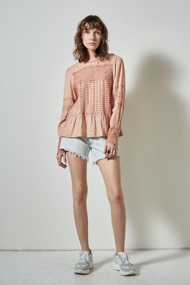 HALF MOON LONG SLEEVE TOP, BLUSH