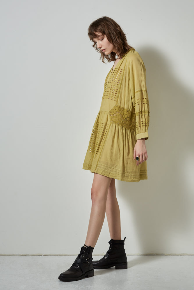 HALF MOON LONG SLEEVE DRESS, CHARTREUSE