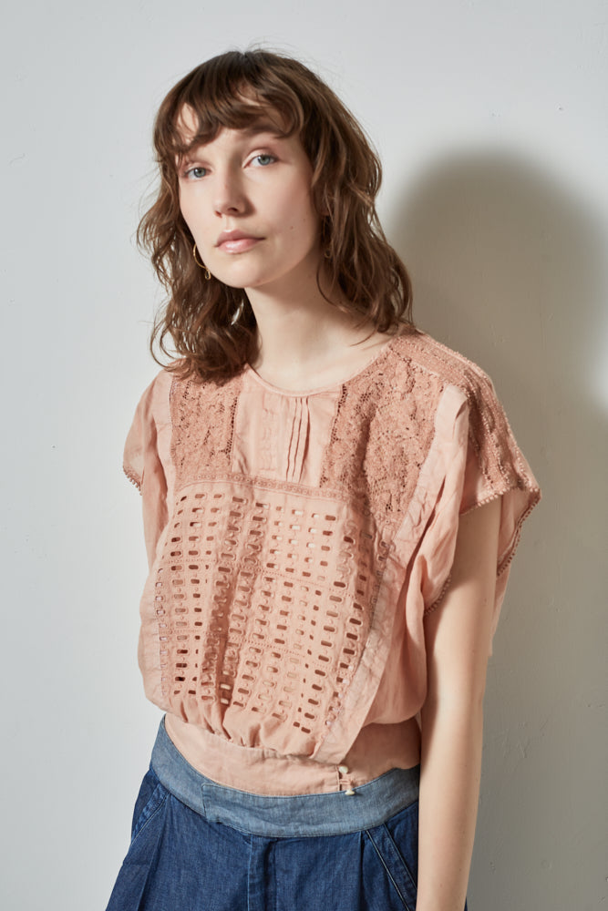 HALF MOON SLEEVELESS TOP, BLUSH