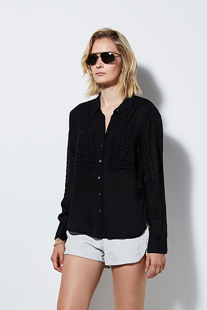 CHATEAU L/S BLOUSE, BLACK