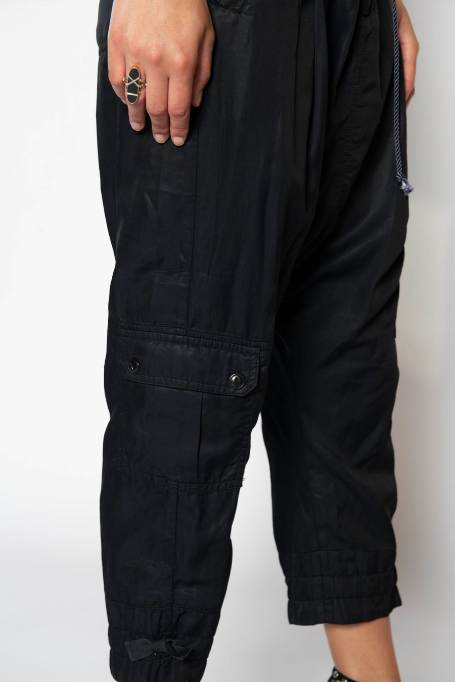LINCOLN DROP CROTCH CARGO PANT, BLACK