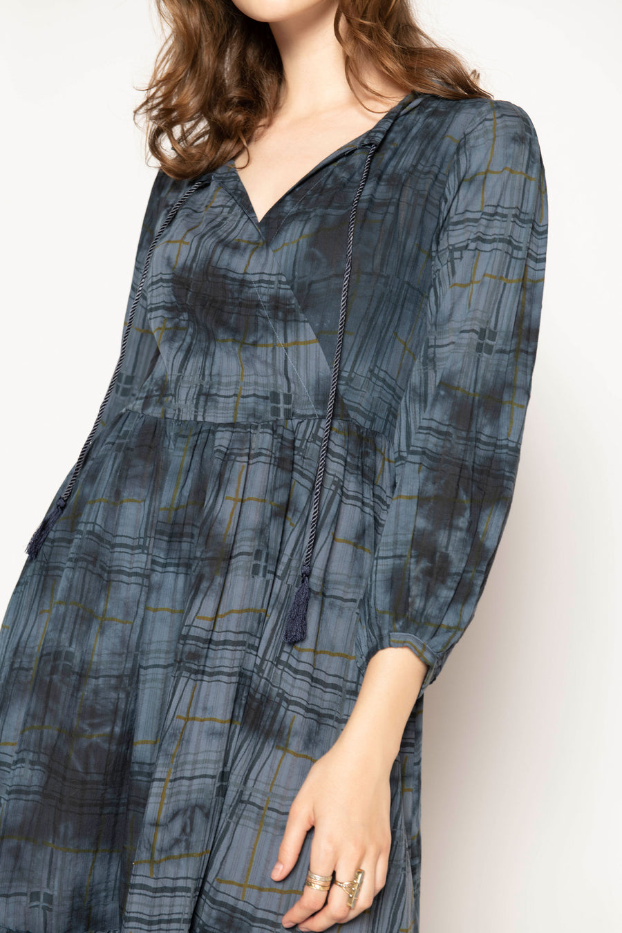 TOPANGA PLAID LONG SLEEVE DRESS, SEA