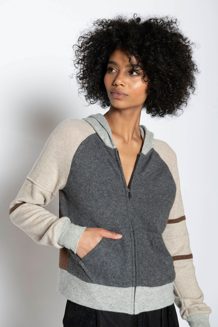 FIRESIDE UPCYCLED CASHMERE ZIP HOODIE, NEUTRAL