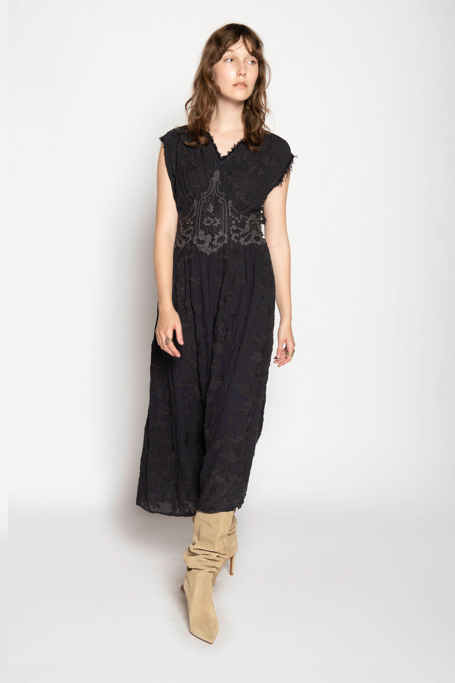 LOTUSLAND EMBROIDERED DRESS, CHARCOAL