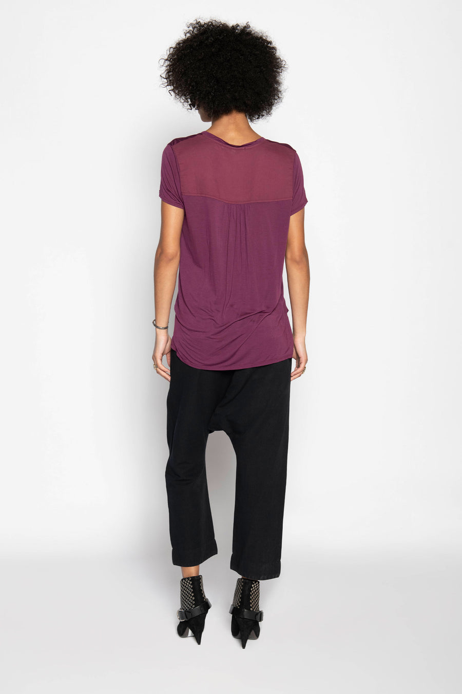 4 DIRECTIONS V-NECK TEE SHIRT MULBERRY
