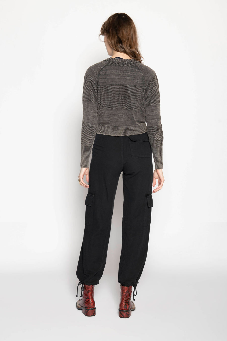 FOSTER KNIT ZIP SWEATER, LICORICE