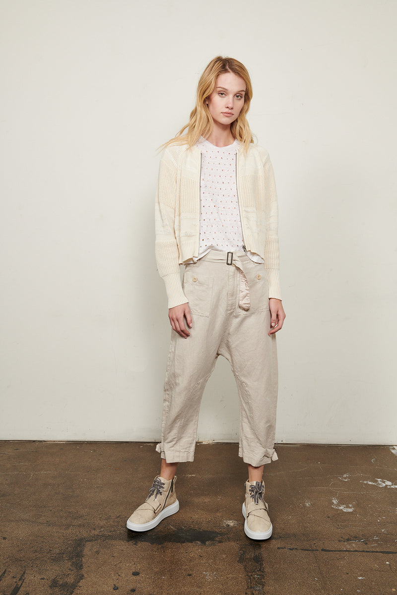 100% Cotton Knit Zip Cardigan with Contrast Texture Details by Burning Torch