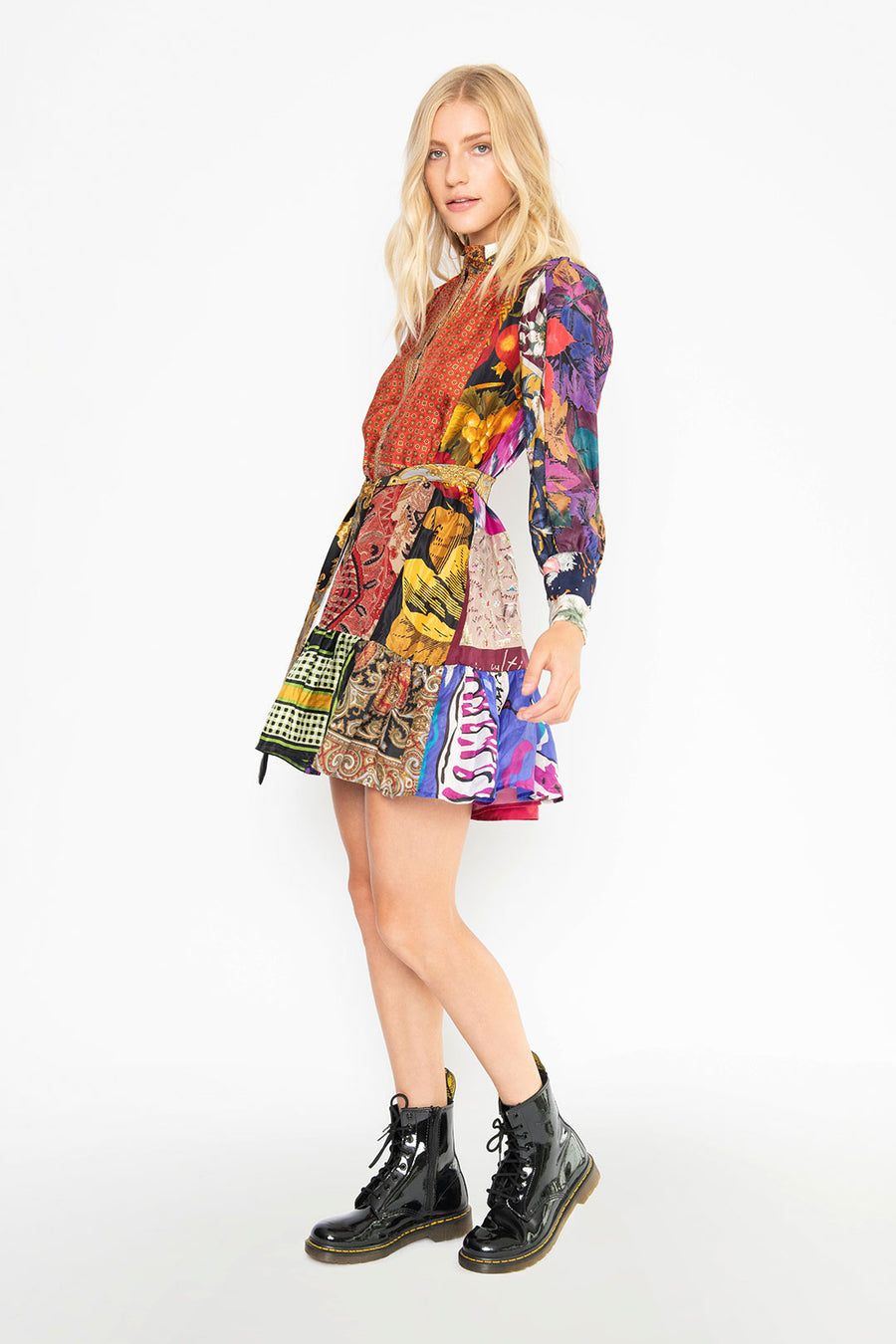 ALICE UPCYCLE SCARVES SHIRTDRESS, MULTI