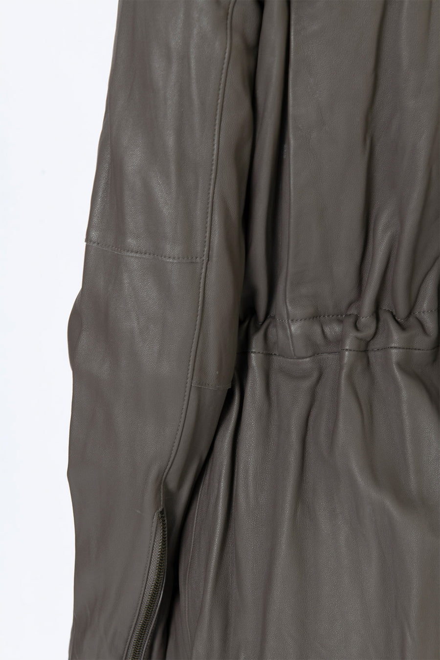WASHED LEATHER PARKA, OTTER