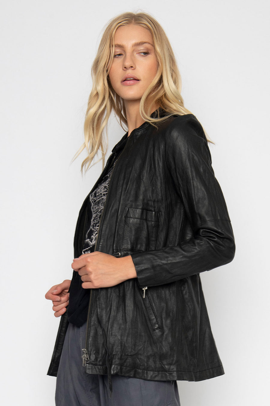 WASHED LEATHER PARKA, BLACK