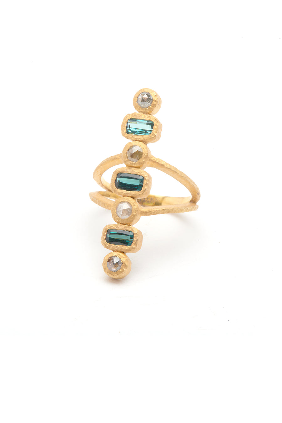 Cleopatra 18K Gold Ring with Raw Diamonds and Tourmaline Stones