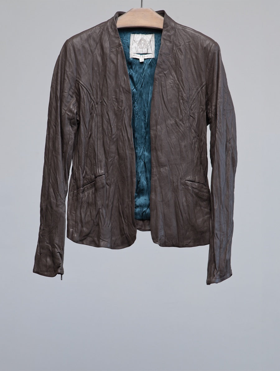 20621 Distressed Leather Jacket, SLATE