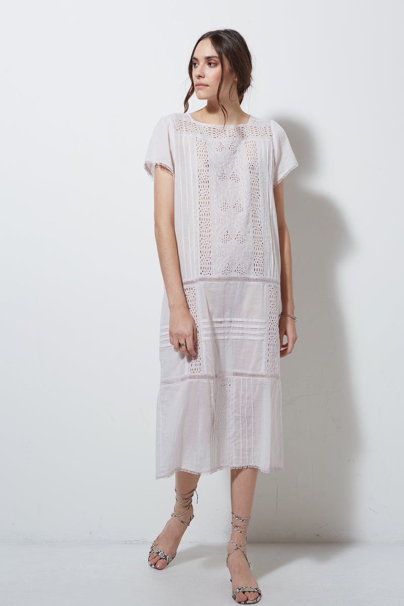 SHORT SLEEVE EYELET DRESS, SWEET PEA