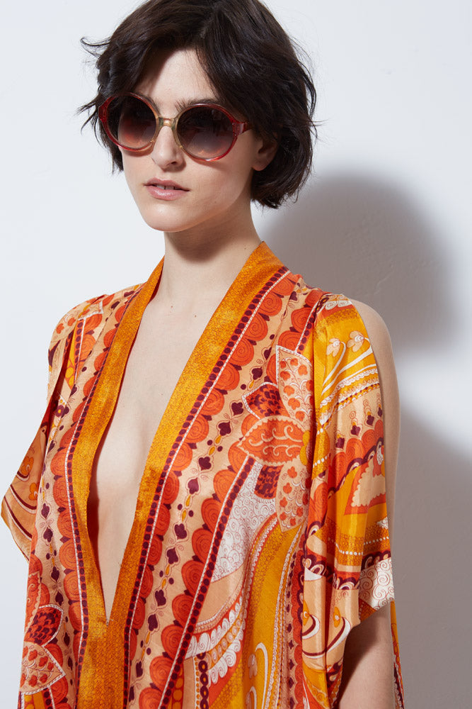 VINTAGE ORANGE PAISLEY ROMPER