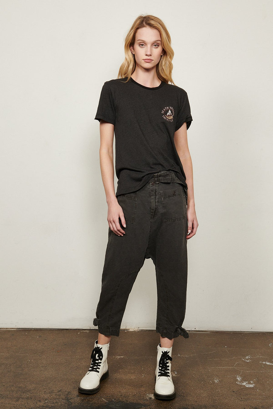 Explorer Linen Blend Cropped Pant- Iron