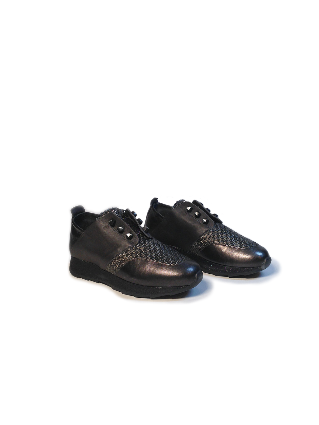 Henry Beguelin Sneaker Intreccio Metallic Black