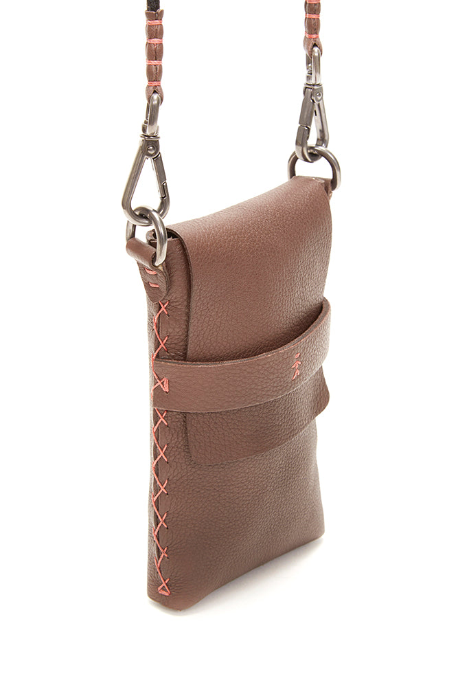 HENRY BEGUELIN CROSSBODY CELL PHONE BAG, BROWN