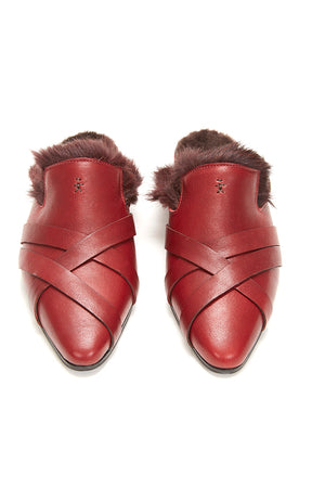 HENRY BEGUELIN LEATHER MULE WITH FUR INSIDE