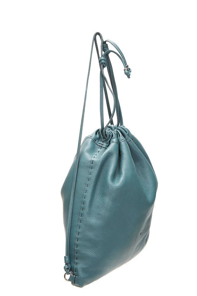 LARGE DRAWSTRING LEATHER BACKPACK TURQUOISE | Henry Beguelin Leather Bag | Burning Torch