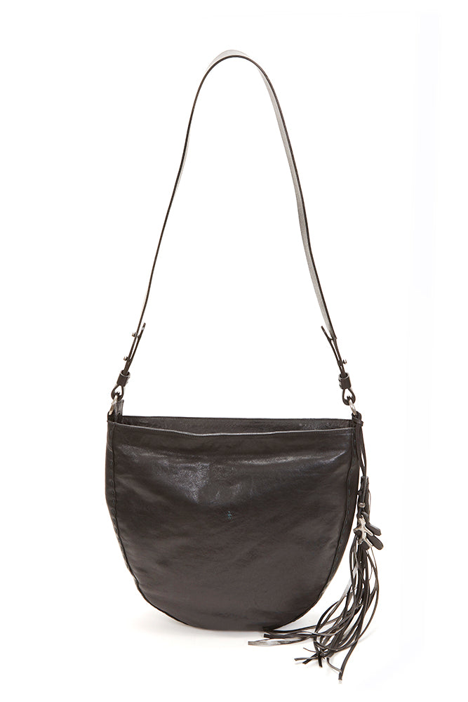 HENRY BEGUELIN LARGE ZIP CLOSURE LEATHER BAG, BLACK
